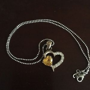 Jewelry - Silver Heart W/Yellow & White Crystal Necklace